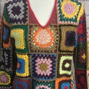 EXPRESS true vintage PATCHWORK crochet SWEATER